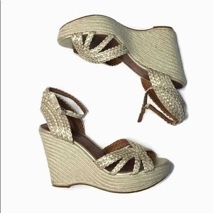 NWOT Lucky Brand Tan/Gold Wedges women's size 8.5